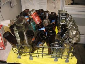 Ruined bottles drying